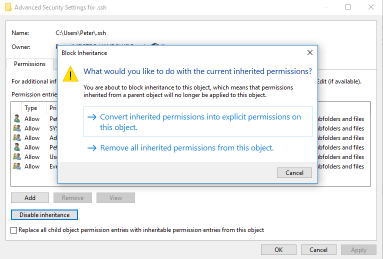 Disable Inherited permissions